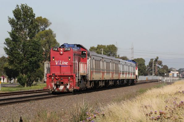 P12 leads a Bacchus Marsh bound push-pull set outside Ardeer