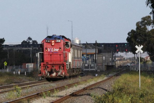 P16 a bit further down the line, departing Ardeer station