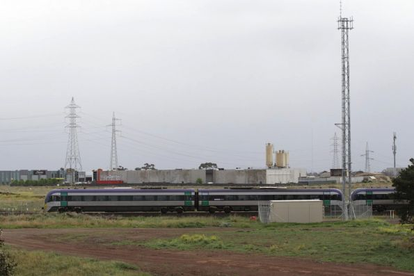 VLocity headed for Ballarat, passing the train radio tower at Deer Park Junction