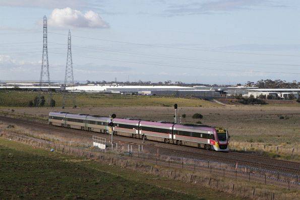 VLocity 3VL46 and classmate lead a down Ballarat service onto the single track at Deer Park West