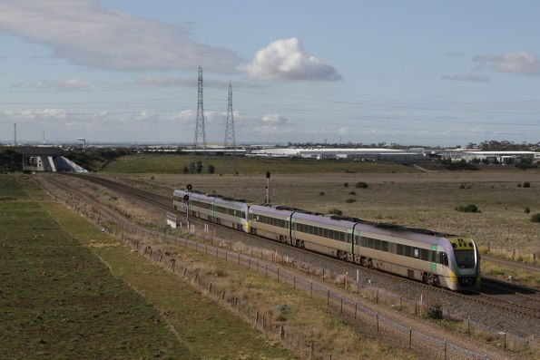 VLocity on an up Ballarat service reaches the double track at Deer Park West
