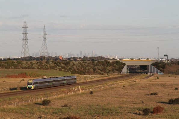Solo VLocity train with an up Ballarat service arrives at Deer Park Junction