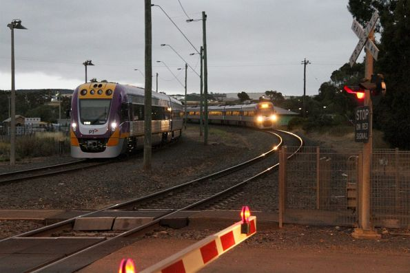 Up Ballarat service arrives into Bacchus Marsh, with VLocity VL62 stabled in the headshunt