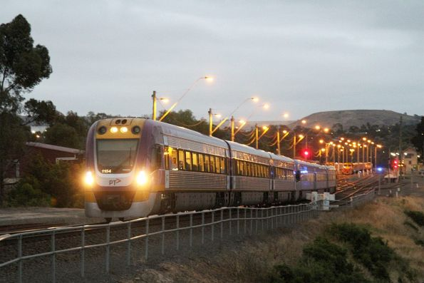 VLocity VL54 and classmate form an up Ballarat service departing Bacchus Marsh