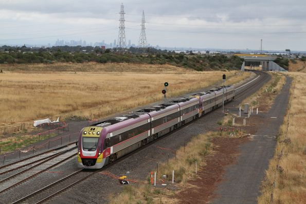 VLocity VL48 leads a classmate onto the single track at Caroline Springs with a down Ballarat service