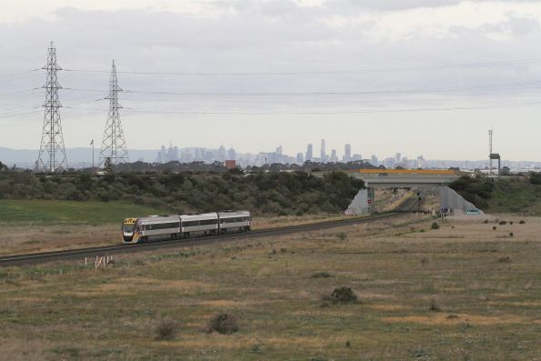 VLocity departs Caroline Springs station on the up