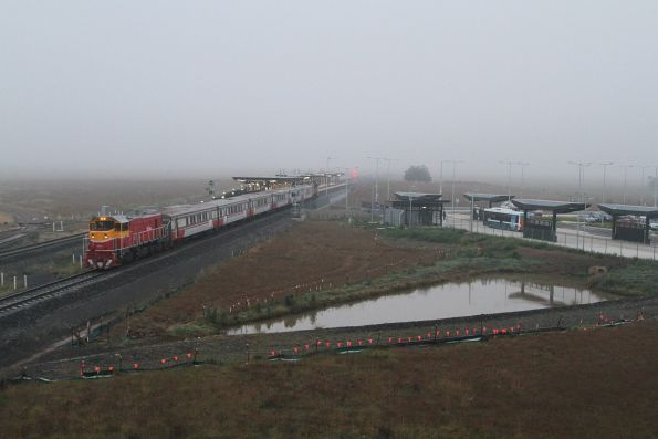 P17 leads P14 on an up Bacchus Marsh push-pull out of Caroline Springs station