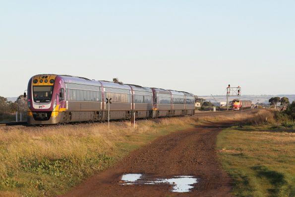 A66 arrives into Rockbank on the up, with VLocity VL61 trails a down Ballarat service in the loop road