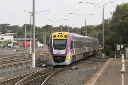 VLocity VL52 departs Bacchus Marsh with a down Wendouree service