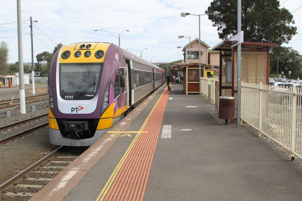 VLocity VL11 ready to depart Bacchus Marsh with an up service