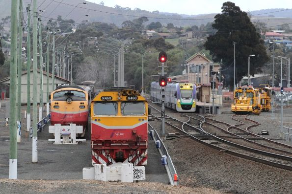 VLocity VL32 and classmate pause at Bacchus Marsh with an up Ballarat service, with A66 and N460 stabled in the yard