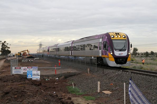 VLocity VL07 and classmate on the down pass track duplication works at Hopkins Road, Rockbank