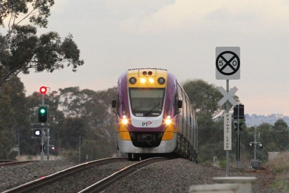 VLocity VL52 and classmate on a down Ballarat service starts to slow for a cross at Parwan Loop