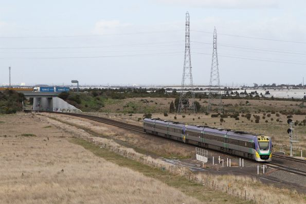 VLocity VL31 leads VL37 on an up service out of Caroline Springs station