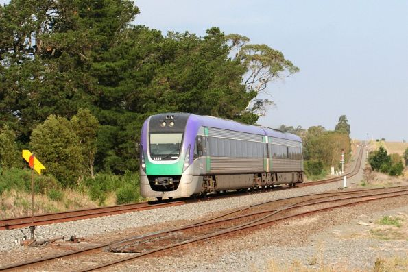 Bound for Ballarat, VLocity VL21 passes the point indicator at the up end of Warrenheip Loop