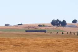 Melbourne-bound VLocity train on the Ballarat line near Warrenheip