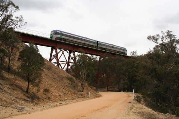 VLocity crosses a bridge through the Werribee Gorge
