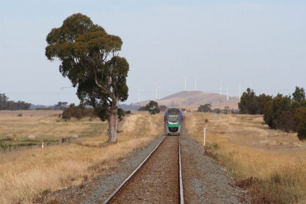 VLocity VL11 bound for Beaufort, with the Challicum Hills wind farm in the background