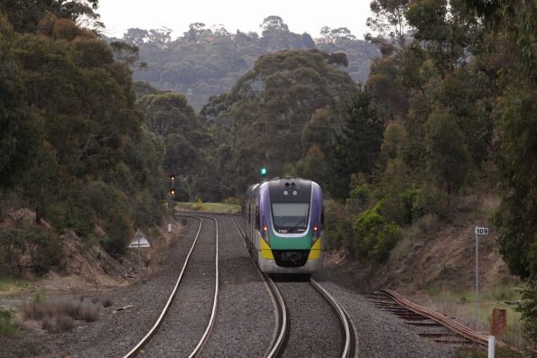 VLocity train approaching the first set of signals for Ballarat East on the down