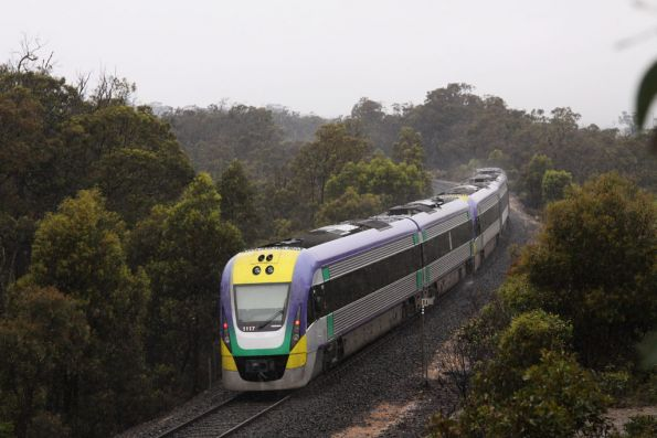 A late running VLocity VL17 trails an up train at Werribee Gorge
