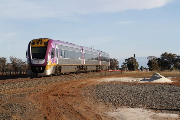 VLocity VL52 leads a down Ballarat service towards the future Rowsley Loop