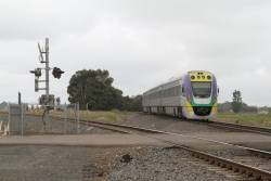 VLocity VL27 bound for Melbourne, takes the 'new' south line at Bungaree Loop West