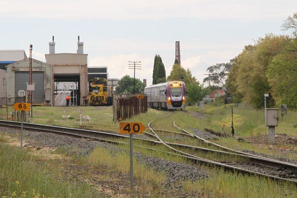 VLocity VL67 at North Ballarat Junction with an up Maryborough service