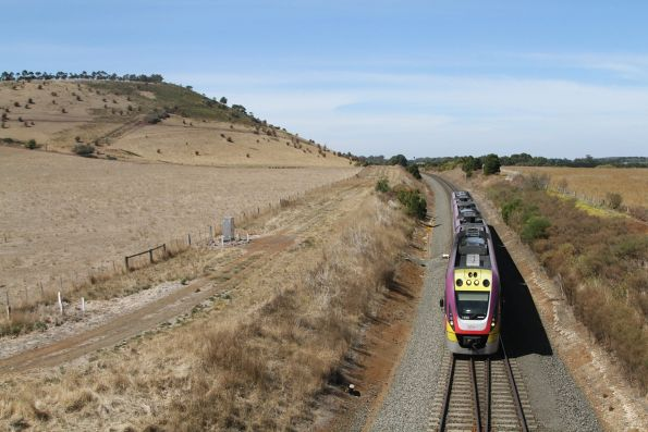 VLocity VL50 on a down Ballarat service diverges onto the north line at Bungaree Loop East for a cross