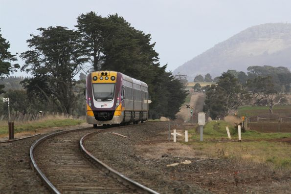 VLocity VL10 bound for Ballarat approaches the junction at Bungaree Loop West