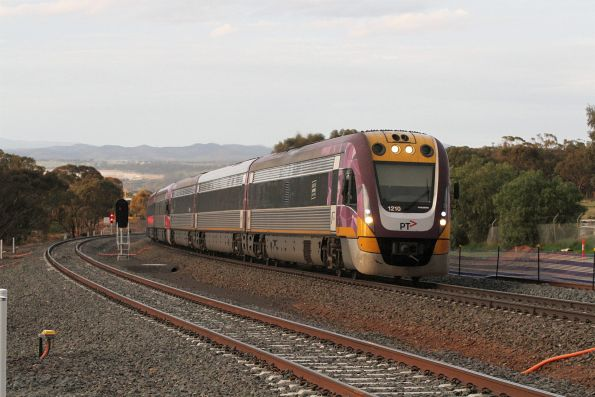 VLocity VL10 and VL49 pass the Maddingley stabling yard on a down Ballarat service
