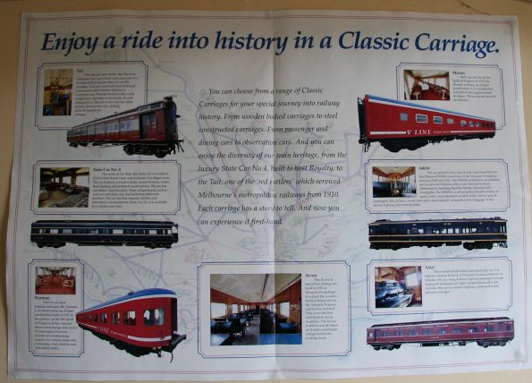 Late 1990s V/Line 'Classic Carriages' poster illustrating various heritage stock available for hire