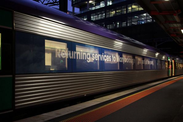 "Yet another window decal, this time on VLocity 1334: ""Returning services to Maryborough. (It"