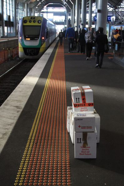 Boxes of blood products for the Red Cross awaiting pickup at Southern Cross