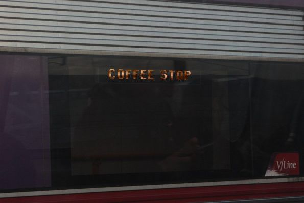 'Coffee Stop' displayed on the destination board of a VLocity train