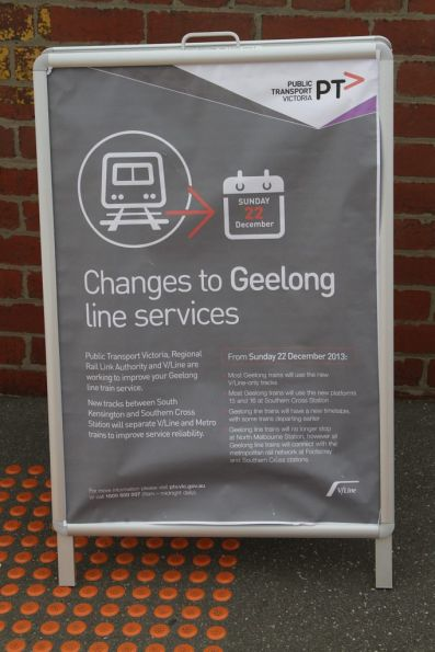 'Changes to Geelong line services' notice at North Melbourne station
