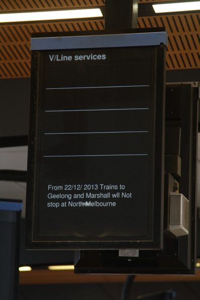 Notice at North Melbourne station informing passengers that Geelong trains will no longer stop there