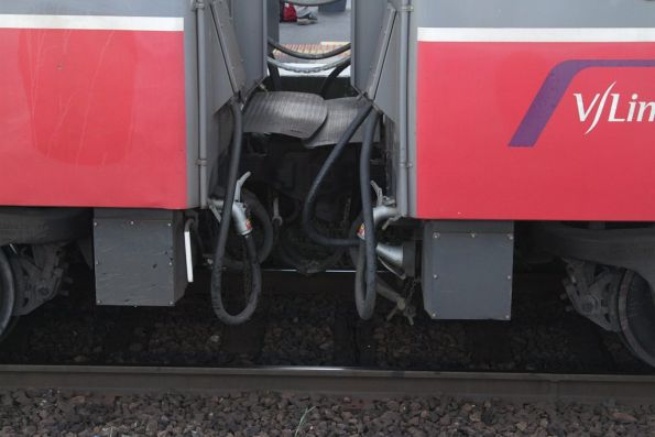 Disconnected HEP (head end power) connections between the two 3-carriage portions of a P class hauled push-pull consist