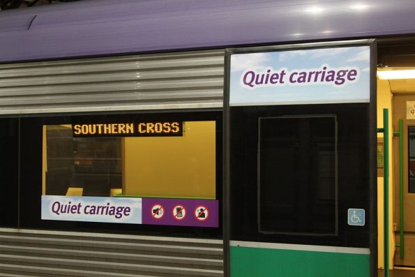 'Quiet carriage' signs on a VLocity car