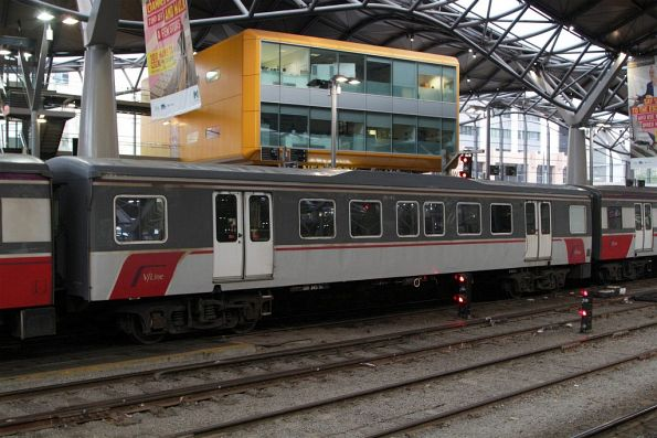 Carriage BH145 is still in the 2007 version of the V/Line grey and white livery