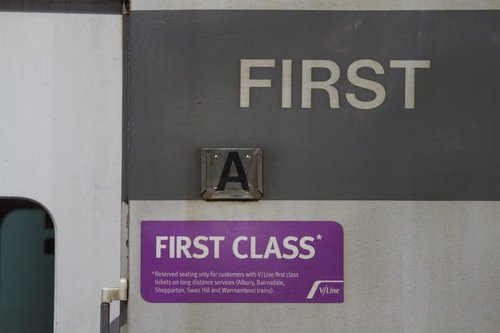 'First Class' notice beside the door of an ACN carriage