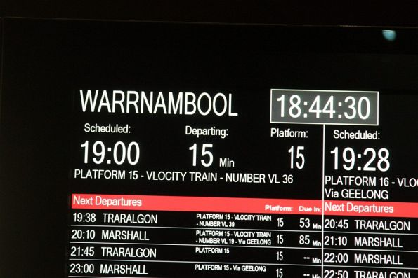 Warrnambool service operating as a VLocity train from platform 15 at Southern Cross