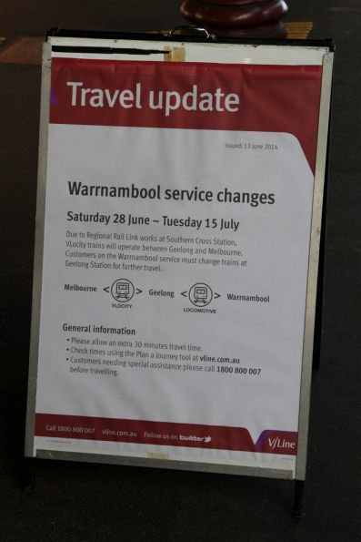 Notice that V/Line passengers will have to change trains at Geelong due to Regional Rail Link work
