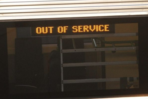 'Out of service' displayed on the destination board of a VLocity train