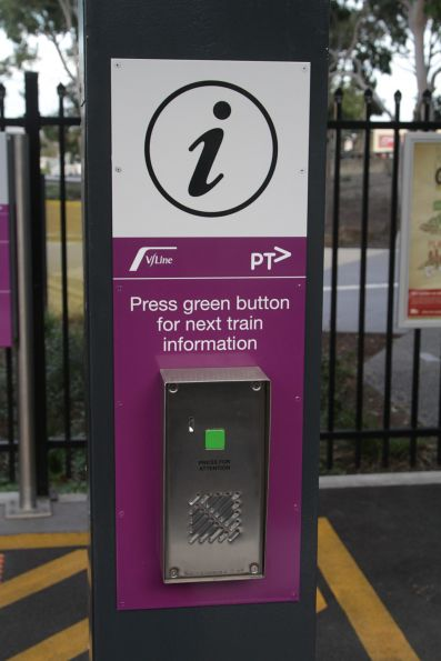 New V/Line next train information button installed at Sunshine platform 4