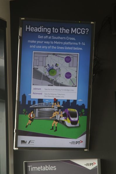 'Heading to the MCG?' flyer displayed on a screen at Tarneit station
