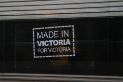 'Made in Victoria for Victoria' decal on the windows of VLocity set VL07