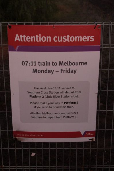 Notice to Little River passengers regarding the 0711 service to Melbourne