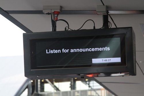 'Listen for announcements' message on the next train display at Wyndham Vale