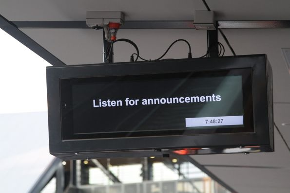 'Listen for announcements' message displayed on the RRL PIDS