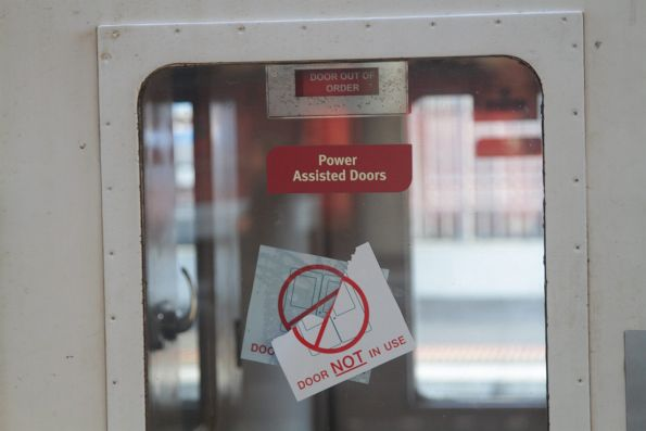 'Door out of order' notice on a power door fitted N set